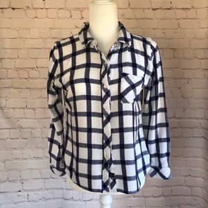 [Rails] Blue & white plaid button up shirt size L